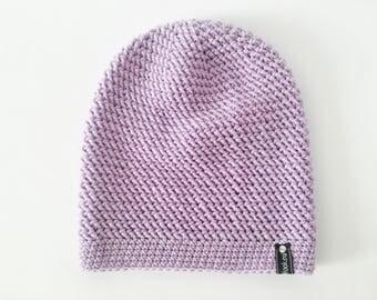 Crochet Slouchy Hat | Pale Purple | iLux Merino