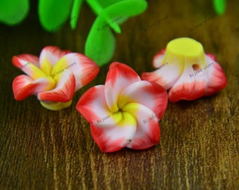 Set of 6 small flowers in polymer clay 20mm red (SZ001)