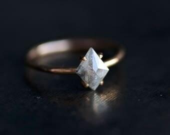 Gray-White Rose Cut Kite Shape Diamond Engagement Ring. Kite Diamond Ring. Engagement Ring. Diamond Engagement Ring