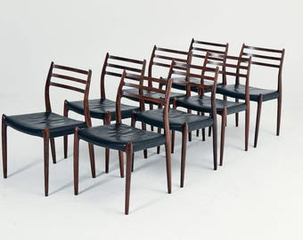 A set of eight N.O. Møller Dining Chairs, 1960s, Denmark