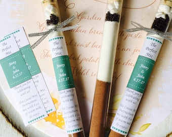Hot Chocolate & White Chocolate Test Tube Wedding Favors, interracial couple wedding favors, Perfect Mix Wedding Favors