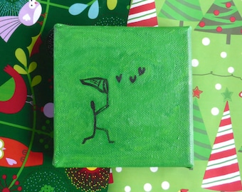 The Butterfly Catcher mini painting on canvas, small Christmas gift, green art, heart art, whimsical art, optional display easel