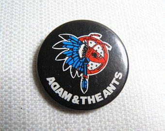 Vintage 80s - Adam and the Ants - Ant Music for Sex People Feather Headdress - Pin / Button / Badge