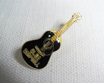 Vintage Early 80s - Glen Campbell - Black Enamel - Acoustic Guitar - Country Music - Pin / Button / Badge