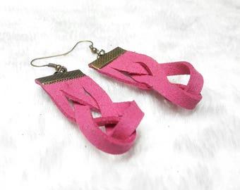 Pink braided suede earrings