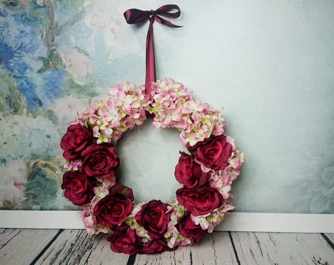 Wedding floral wreath centerpiece hanging backdrop arrangement vintage fall burgundy marsala blush pink roses decor romantic home decor