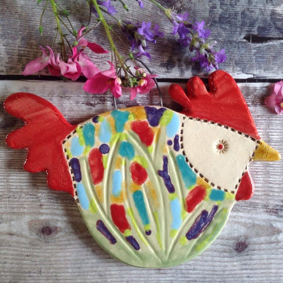 Ceramic Hanging Hen, cottage garden pattern, handmade, Chicken, Kitchen decor, bright and cheerful, nice little gift, unique
