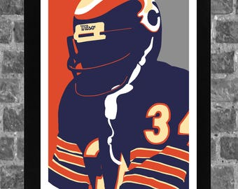 Chicago Bears Walter Payton Portrait Sports Print Art 11x17