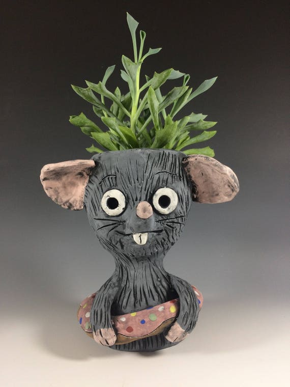 Sprinkles the Rat // Doughnut lover // Rat lover // Succulent planter // Ceramic planter // Pottery // Animal planter // Rat with Doughnut