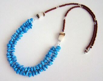Southwest Necklace, Turquoise Blue Howlite Chip Long Beaded Necklace, Blue Howlite Double Strand Necklace, Howlite Seed Bead Long Necklace