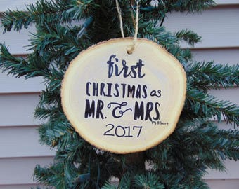 hand painted wooden Christmas ornament for newly married couples