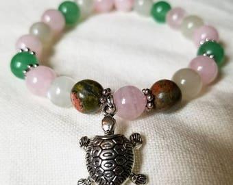 Manifest Miracles II: Reiki Attuned Rose Quartz, Moonstone, Unakite, and Green Aventurine Healing Fertility Bracelet/fertility jewelry