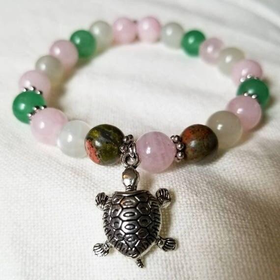Manifest Miracles II: Reiki Attuned Rose Quartz, Moonstone, Unakite, and Green Aventurine Healing Fertility Bracelet
