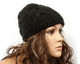 Black  Hat Women Chunky knit hat Warm ears hat Knit Accessories Gift For Her - Ready to ship