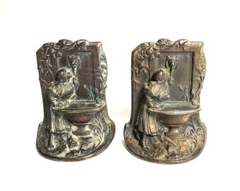 Girl Maiden at Fountain Bookends - Vintage BronMet Bookends - Antique Bronze Bookends - 1920s Bookends - Garden Theme -