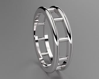 Silver 6 mm Mens Wedding Band with Bars Designs, 925 Sterling Silver Wedding Ring with Openess, Wide Mens Ring with Unique Look, 6mm Wide