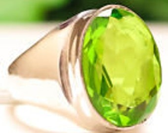 Green Peridot gemstone ring sterling silver 925 size 9.25