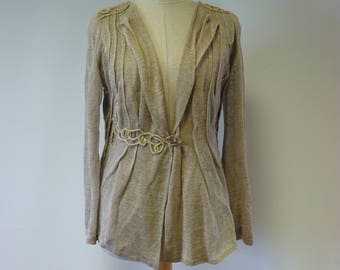 Exceptional taupe linen cardigan, M size. Made of pure linen, artsy look.