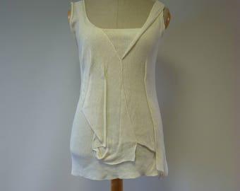 Summer handmade off-white linen top, L size.