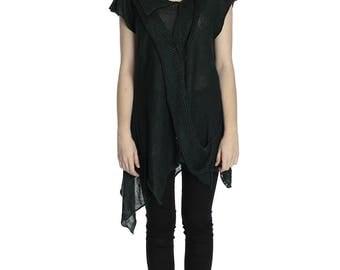 Special price. Boho asymmetrical emerald linen vest, L size.