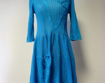 The hot price. Handmade forget-me-not linen dress, M size.