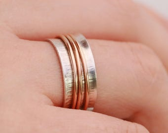 Sterling Silver & 14K Gold Filled Spinner Ring|Silver Spinner Ring|Gold Spinner Ring|Anxiety Ring|Fidget Ring|Meditation Ring|Worry Ring|