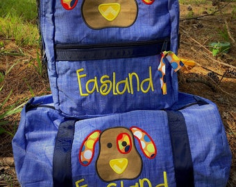Applique puppy backpack and matching duffle set