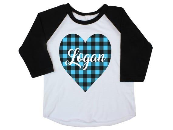 Boy Valentine Raglan Shirt Onesie Buffalo Blue Plaid Heart Shirt Valentine's Day Boy Shirt Boy Baby Onesie Boy Bodysuit Personalized Boy