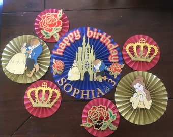 7  red blur and gold paper rosette, beauty and the beast ,disney princess inspired paper rosette, paper fan , pinwheel, backdrop