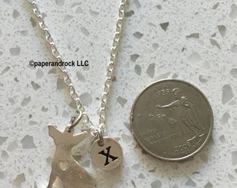 Chihuahua heart necklace, chihuahua jewelry, dog breed jewelry, silver chihuahua necklace, dog necklace, gift for chihuahua owner