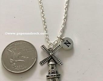 KIDS SIZE - Windmill initial necklace, windmill jewelry, Dutch jewelry, Holland jewelry, windmill necklace, Holland necklace, Netherlands