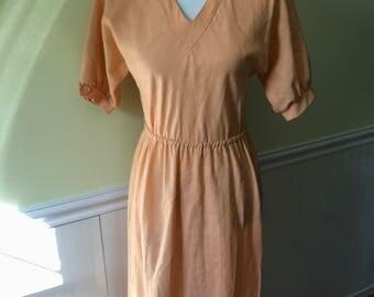 1970's Peach David Warren NY Dress Size 6