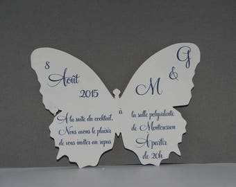 White monarch butterfly invitation card