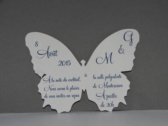 Top Carte invitation papillon monarque blanc QC81