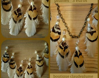 6 pendants beads & pheasant feathers