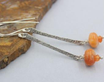 Orange Calcite and Carnelian Long Dangle Earrings, Silver Textured Sticks with Dangling Gemstones, Orange Earrings, Sterling Silver Artisan
