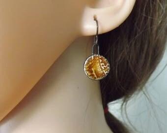Small brown ceramic earrings, round earrings, drop earrings, circular ceramic earrings, patterned ceramic earrings, ceramic jewellery,