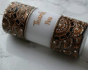 Thank You Candle | Black, White & Gold | Henna Inspired | Thank You Gift | Henna Candle