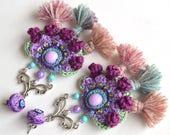 wearable art, lavender earrings, tassel earrings, ethnic earrings, big earrings, statement earrings, purple earrings,ultraviolet earrings
