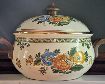 Vintage Asta Enamelware Dutch Oven. Fissler Cookware. Made in Germany. Large. Floral Decorated. Casserole.