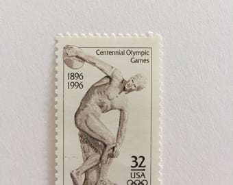 10 Vintage 32c US postage stamps - Centennial Olympic Games 1996 - Neutral sepia cream sculpture art - unused