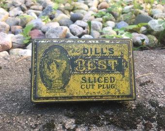 J.G. Dill's Best Sliced Cut Plug Tin, vintage tobacco tin