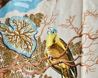 Vintage 40s Tree of Life Curtains // 1940s Magnificent Tan Curtains with Large Exotic Print // 4 Panels