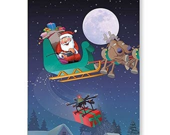 Drone Delivery - 18 Funny Christmas Cards & Envelopes - 20056a