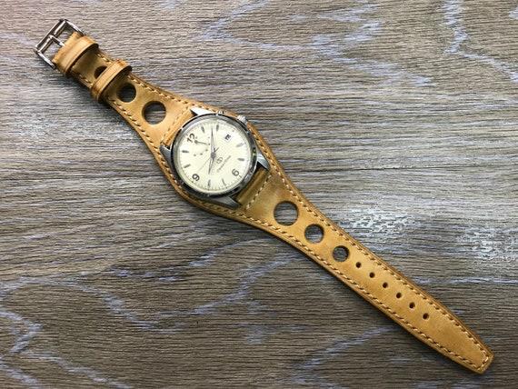 Leather Watch Band, Full bund strap, Rally watch band, Racing watch band, Vintage Beige Leather watch Strap, 20mm watch band, FREE SHIPPING