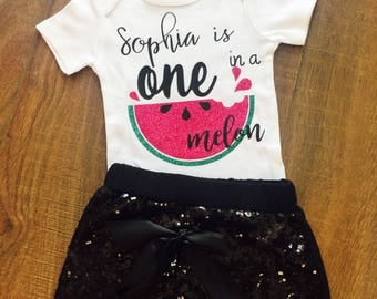 One In A Melon Onesie With Custom Name