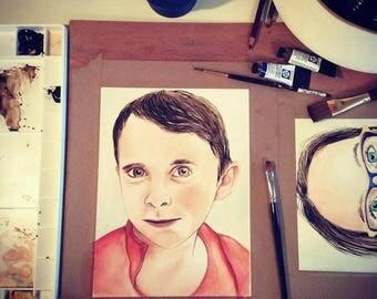 Custom personalized portrait watercolor color softness Kim Normandin acid free paper
