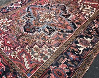 "6'8""x8'6"" Vintage Persian Heriz Rug"