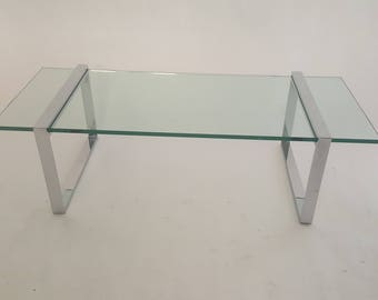 "Charles Hollis Jones ""Box"" Coffee Table Chrome and Glass"