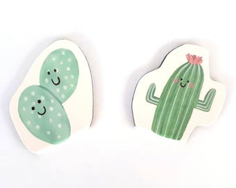 Set of 2 kawaii cactus magnetic bookmarks | page markers